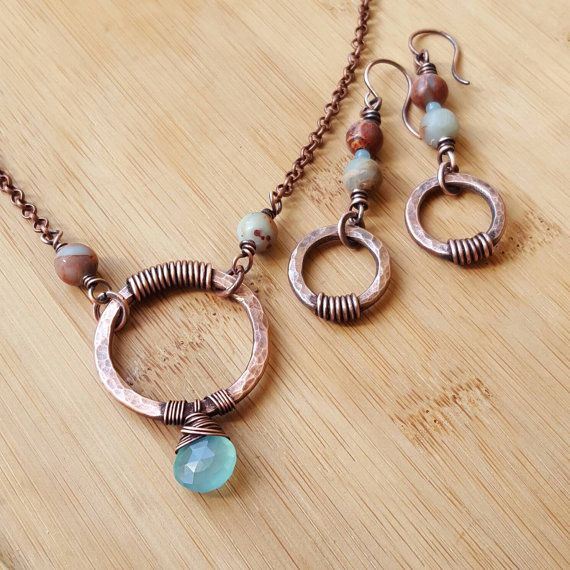 Boho earring and necklace set, blue chalcedony necklace, hammered copper necklace, copper earrings, jasper earrings, boho jewelry, bohemian