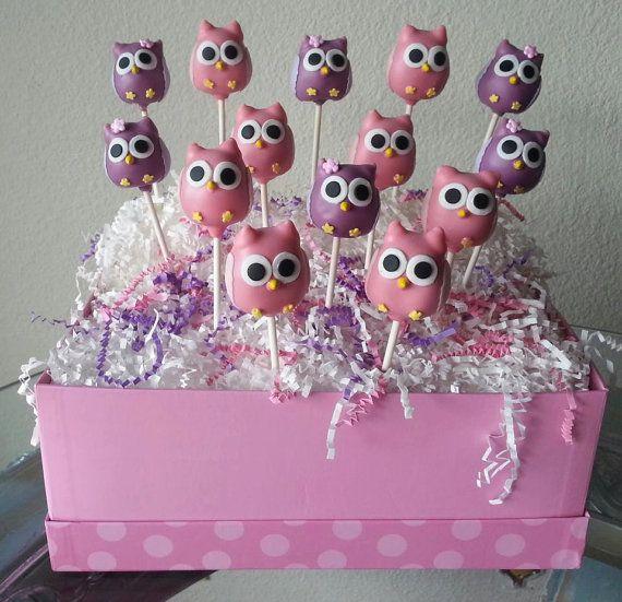24 Owl Cake Pops & Stand Display Box Owl di TheMaDCakePopShop