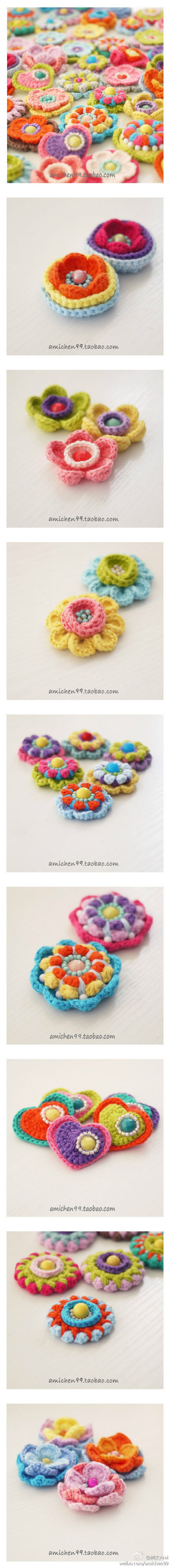 Crochet flower with bead and heart