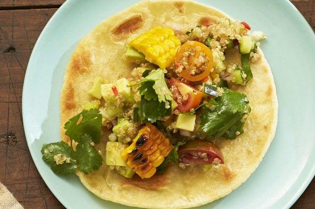 Quinoa, BBQ corn and lime soft shell tacos main image
