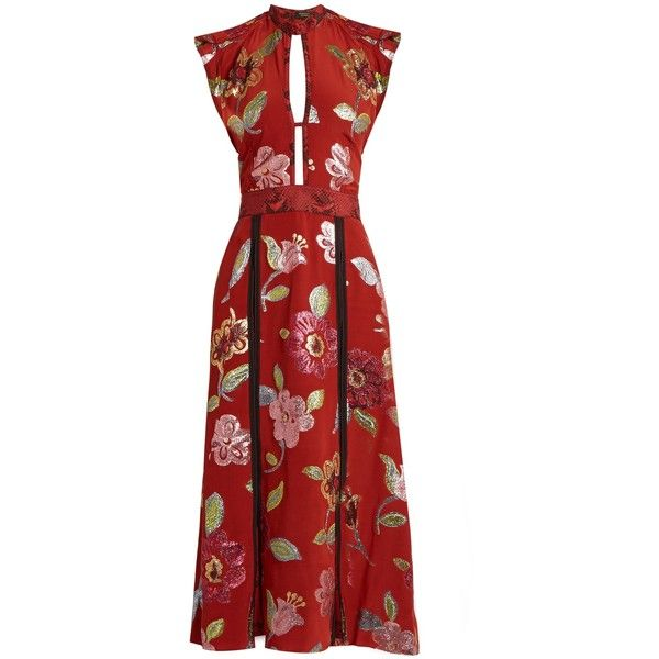 Burberry Prorsum Floral fil coupé silk crepe de Chine gown (£2,375) ❤ liked on Polyvore featuring dresses, gowns, red multi, cocktail dresses, fit and flare cocktail dress, floral evening gown, silk evening dresses and red evening gowns