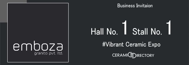 Welcome to Vibrant Ceramic Expo - Hall No 1 Stall No . 1 : http://www.ceramicdirectory.com/ceramic-tiles-manufacturers/?company=emboza-granito-pvt-ltd  #CeramicDirectory #VibrantCeramicExpo #EmbozaGranito #CeramicTilesManufacturers #CeramicTilesImporters #CeramicTilesExporters #CeramicTilesCompany #VITRIFIED_TILES_MANUFACTURERS