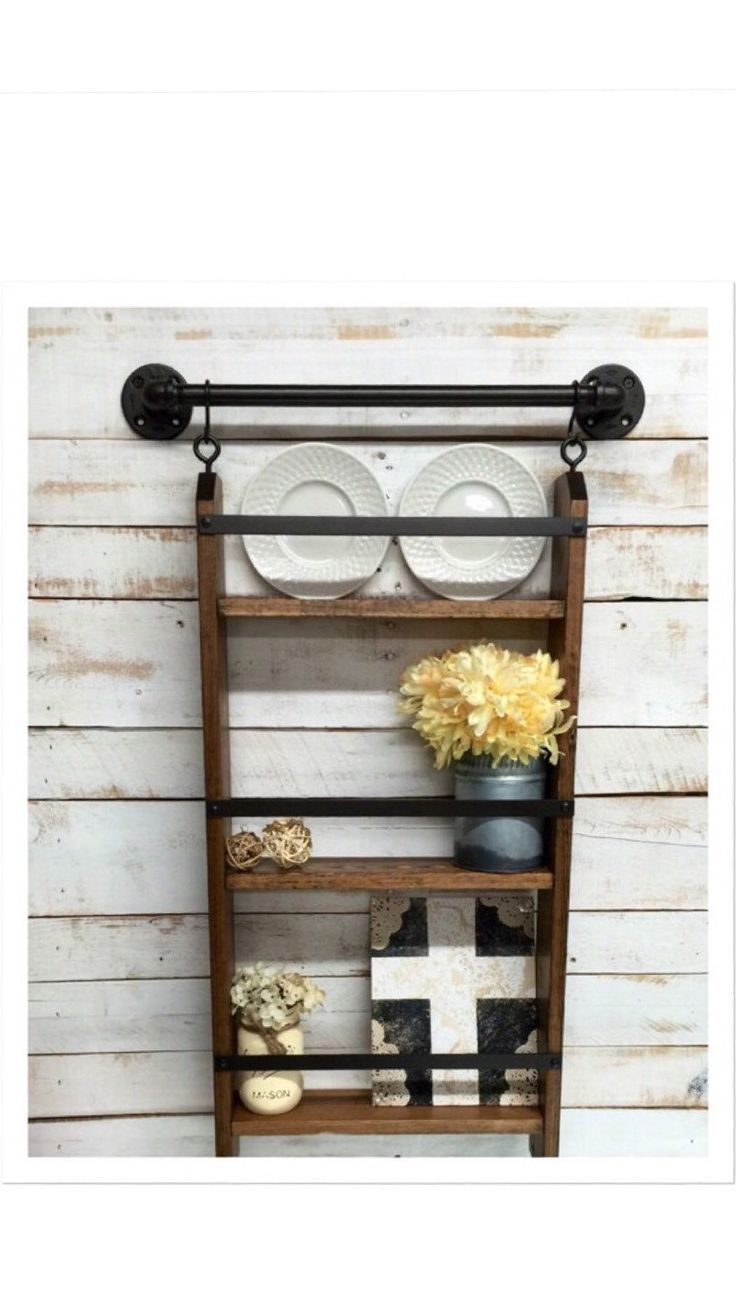 Rustic ladder shelf, rustic shelf with hooks,rustic  farmhouse shelf, cottage chic, home decor, industrial pipe shelf by countrycornergoods on Etsy https://www.etsy.com/listing/256142889/rustic-ladder-shelf-rustic-shelf-with