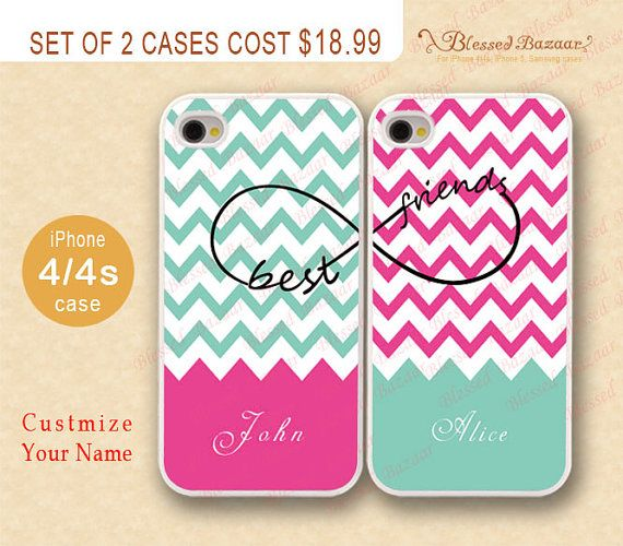 Monogram Iphone Case Chevron Infinity Best Friend 4 4s