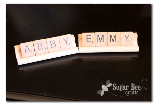 These scrabble tiles could be cute painted in red/green for christmas ornaments!Plates, Names, Scrabble Tiles, Baby'S Scrabble, Scrabble Nameplate