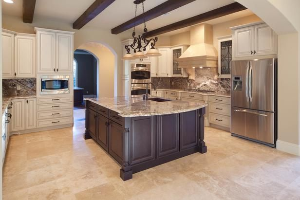 Great colors with chocolate brown! Beige Old-World Kitchen - Beautiful, Efficient Kitchen Design and Layout Ideas on HGTV