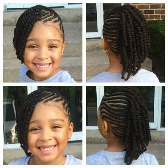 Braids & 2 strand twist style, super cute!