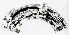 Schipbreuk ~ Tekening naar een geometrische vaas in het museum te Ischia ~ 8e eeuw vC.