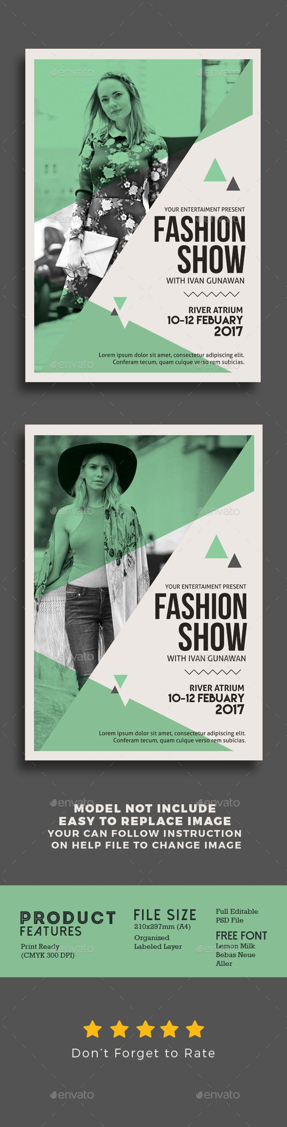Fashion Show Flyer Design Template - Events Flyers Design Template PSD. Download here: https://graphicriver.net/item/fashion-show-flyer/19357652?ref=yinkira