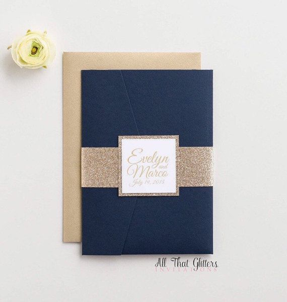 Glitter Wedding Invitation Suite shown here in Gold and Navy, our Evelyn Pocketfold Suite.  This listing is for a sample. Please do not purchase more than one of this listing. To place a full order, please message us!  All That Glitters Invitations introduces … Our Evelyn Suite  This suite features a pocketfold that opens to reveal a beautiful glitter mat with invitation and insert cards in the pocket.  *Sorry, samples are not customizable, but we can send color swatches if you would like…