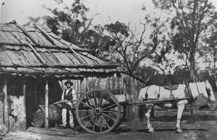 Slab Hut with a Loaded Dray Outside - c.1860s