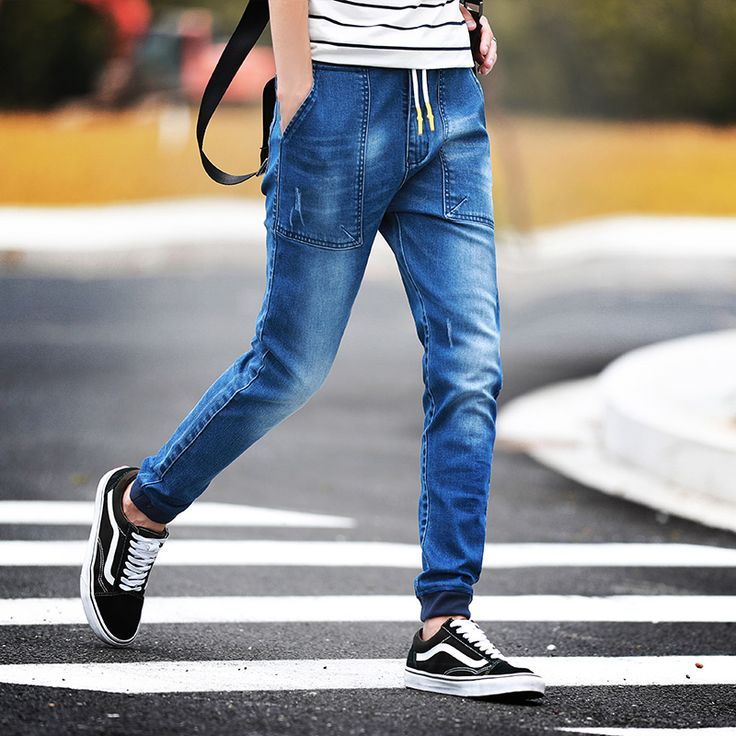Find More Jeans Information about New 2016 Fashion Brand Mens Jeans Blue Gray Casual Slim Fit Skinny Jeans Men Biker Denim Jeans Pants Drawstring Joggers Big 5XL,High Quality jeans free,China jeans pants for girls Suppliers, Cheap jean jacket from Eric's on Aliexpress.com
