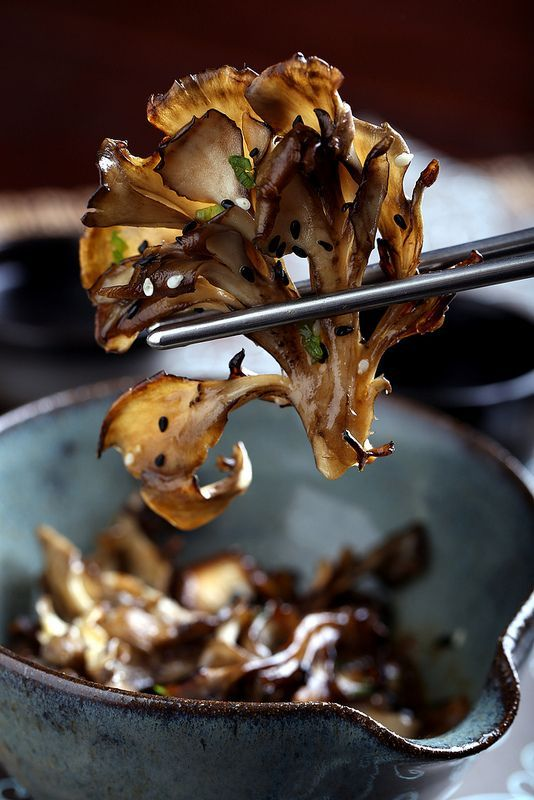 Olives for Dinner | Vegan Recipes and Photography: Roasted Maitake Mushrooms in Sesame-Miso Broth