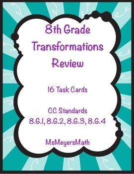 This product includes 16 task cards about: -Determing the type of transformation (translation, reflection, rotation, dilation. -Determing the sequence of transformations -Determining similarity and congruence These can be used for differentiation by having the students choose any 8 cards they want to complete.