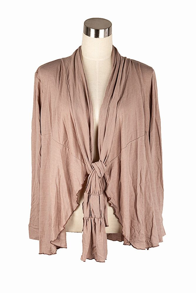 Vigorella Soy Long Cardi with tie insert in Latte