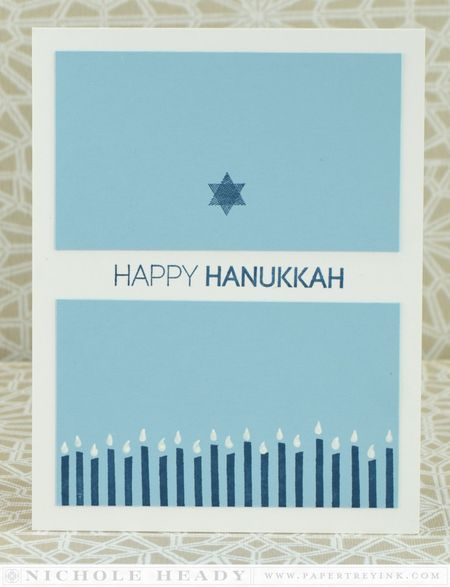 Hanukkah Candles Border Card by Nichole Heady for Papertrey Ink (October 2014)
