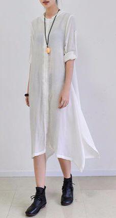 White summer silk sundress long cardigans oversize
