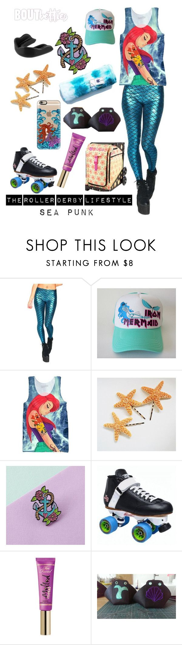 Roller derby fashion | Sea Punk by Bout Betties on Polyvore featuring Casetify, Too Faced Cosmetics, Skatanist