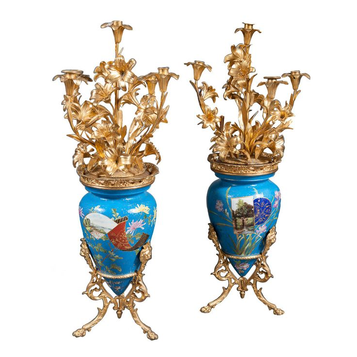A Pair of French Japonisme Ormolu & Porcelain Candelabras by Victor Paillard