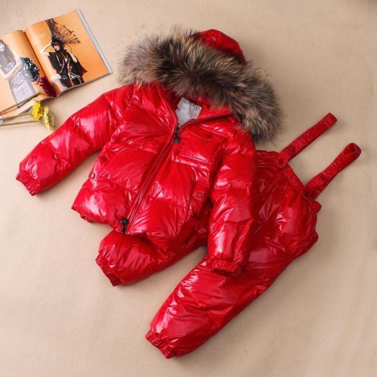 2015 новые зимняя куртка костюм ребенка детские дети низкого сезона мужской и женской енот меховым воротником красный - Taobao