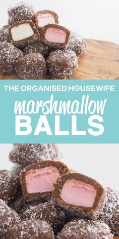 Marshmallow balls have a sweet biscuit mixture coating marshmallows, a delicious snack idea.