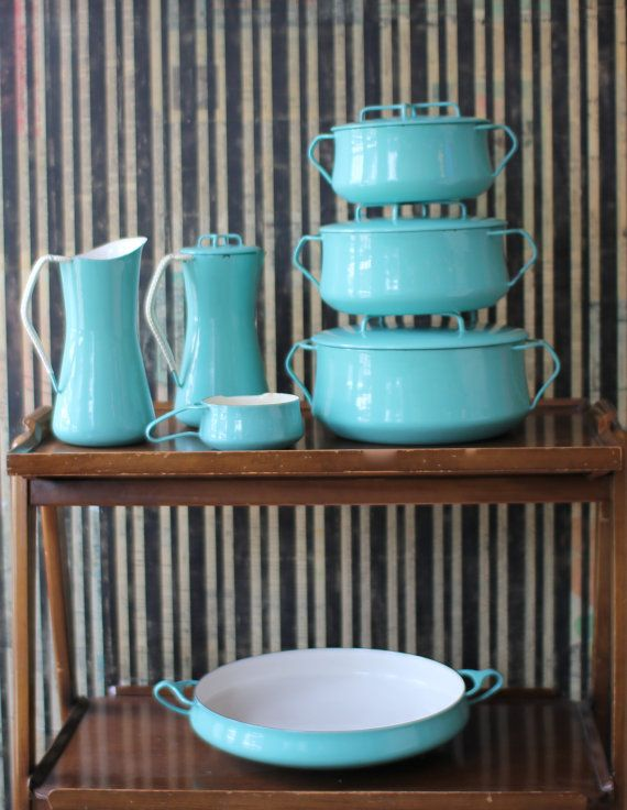Vintage Dansk Kobenstyle esmalte utensilios / Dansk Set / mediados de siglo modernos utensilios de cocina / Vintage Enamelware