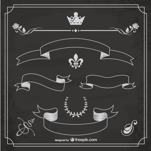 Sketched ribbons Free Vector