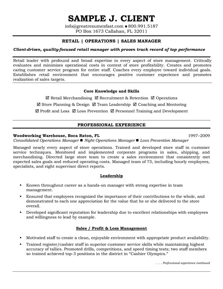 Retail Operations Manager Resume How to draft a Retail