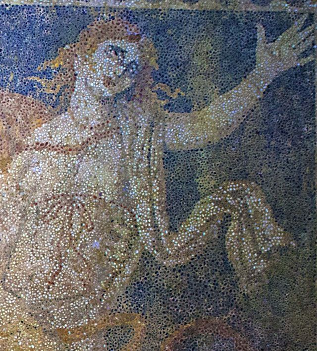 """"""" And Hades seized her and took her loudly crying in his chariot down to his realm of mist and gloom"""" .--  Persephone shown in red hair and white tunic, wearing a thin red strip on her waist and piece of jewellery on her left hand."""