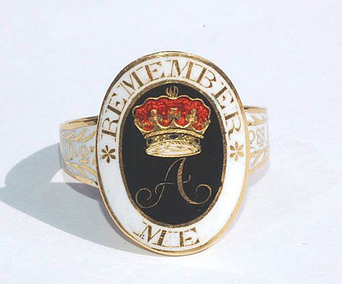 Princess Amelia Mourning Ring, the youngest daughter of George III and Queen Charlotte, who died at age 27.