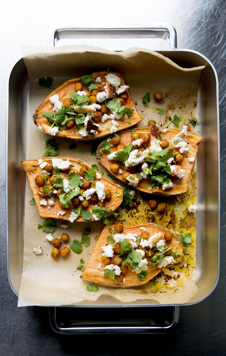 Sweet potato with almond feta, spicy chickpeas & coriander
