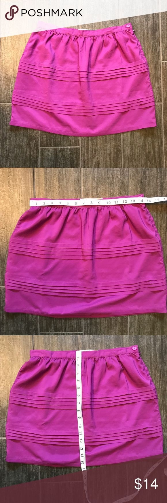 Roxy fuchsia skirt - size 7 Roxy fuchsia skirt - size 7. Used. Lined and perfect for summer. Beautiful vibrant color. Some signs of wear on the sides, shown in the last two pictures and reflected in price. I don't think it's noticeable while on. Roxy Skirts Mini