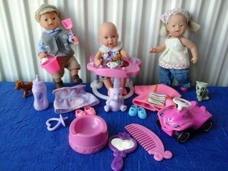 Mini Baby born Spiel Set! Mit Drei Puppen, mit Kuscheltieren, Sandspielzeug, Bobby Car, Töpfchen, Schnuller, Flasche, Gehfrei,Kamm,Spiegel u 2x Wechselkleidung inkl. Schuhe