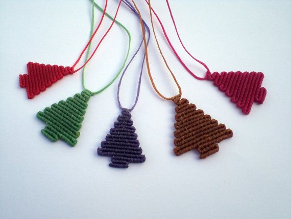Macrame Christmas trees. Christmas trees for various uses, set of 5. Christmas trees for earrings, necklace, brooch etc. Hand knot trees.