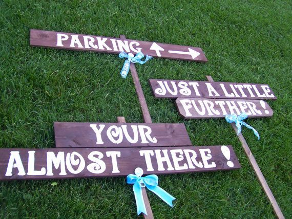 almost there signs ,wedding signs , bridal shower signs , directional signs EXTRA LARGE SIGNS any event signs made hand painted  letters 4  *****HICCUP******* WHATS WRONG WITH THIS SIGN ?????? yes the word is misspelled.. your... and should be ...you`re I can not correct the picture.. but when ordering  the correct spelling is used when signs are complete I will send a picture for approval before shipping out  5 signs and 3 stakes... 3ft tall .. screw included your are purchasing.. 1] ju...