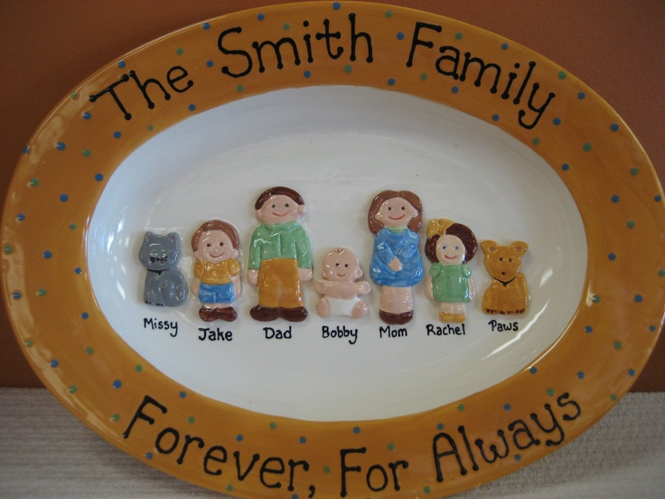 Good Adorable Family Platter By Artist Lynn Adams