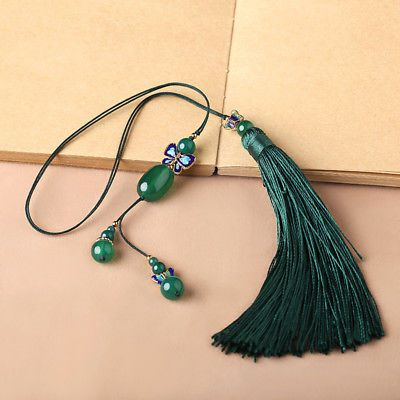 Hand-woven Cloisonne Butterfly Agate Jade beads Ropes tassel Bookmark Bookmarker