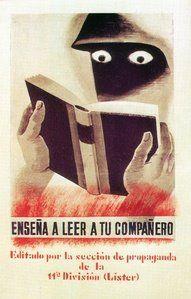 Poster de la Guerra Civil española con el mensjae de enseñar a leer a aquellos compañeros que no sabian leer, las Brigadas Internacionales, 1937