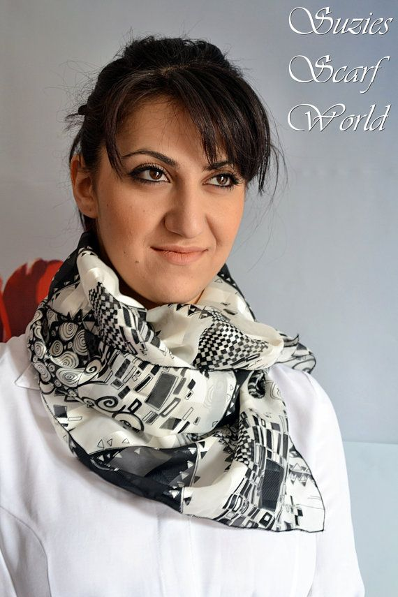 Long Chiffon Scarf Black And White Scarf by SuziesScarfWorld, €19.00