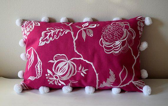 """Pink Lumbar Pillow, 12x18"""" Lumbar Pillow, Pompom Pillow, Pink Pompom Pillow, Throw Pillow, Pink Cushion, Floral Pillow, Pink Floral Cushion"""