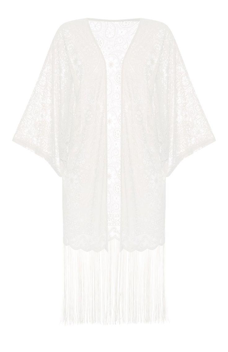 Primark - Ivoorkleurige kimono met franje