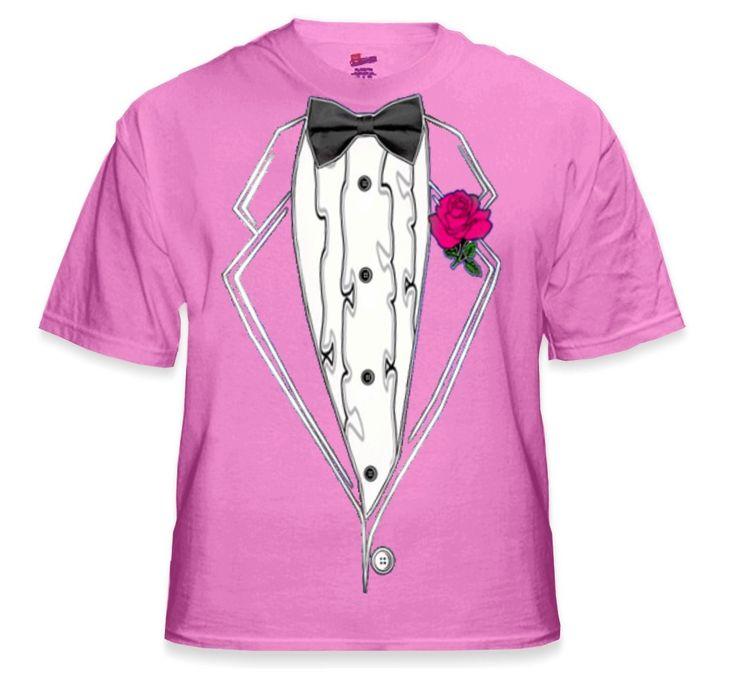 Tuxedo TShirts - Kids Ruffled Pink Tuxedo T-Shirt With Pink Rose (Pink Shirt)