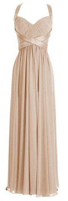 Olidress Women's Strap Long Prom Bridesmaid Dress Evening Dress Champagne US4