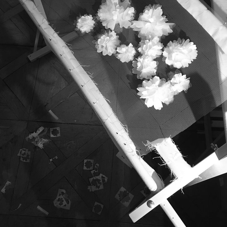 PomPom Flowers on Tulle / Embroidery on Sleeve cut  #weddingdress2017 #weddingdress #weddinggown #robealafrancaise #hautecouture #embelishment #flowerembroidery #fashionaddict #weddingaddict #svatebnisaty #svatebni #czechdesigner #fashionkilla #fashionpost #weddingblogger #luxurydress #couturedress #customwedding #bespokedress