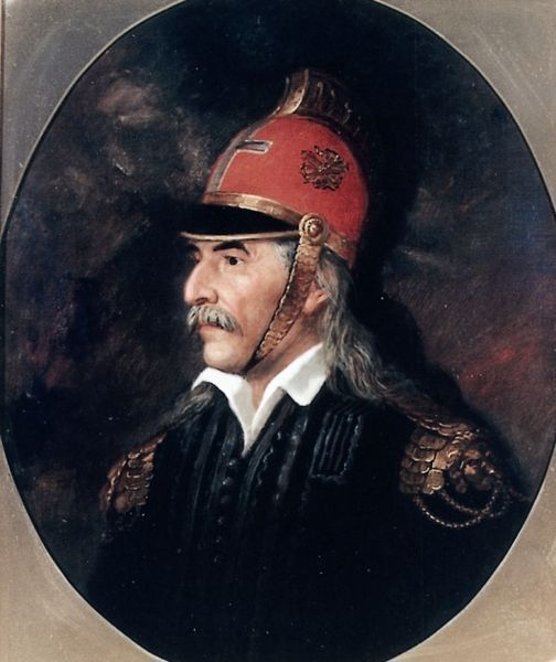 Theodoros Kolokotronis portrait, 1853, oil on canvas. Kolokotronis (3 April 1770 – 4 February 1843) was a Greek general and the pre-eminent leader of the Greek War of Independence against the Ottoman Empire. His greatest success was the defeat of the Ottoman army under Mahmud Dramali Pasha at the Battle of Dervenakia in 1822. In 1825, he was appointed commander-in-chief of the Greek forces in the Peloponnese. He ranks among the most revered of the protagonists of the War of Independence.