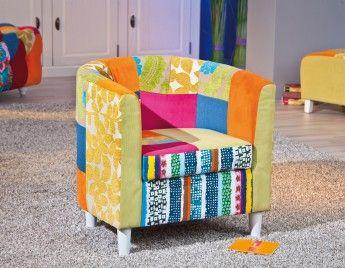 Fauteuil cabriolet design en tissu patchwork multicolore Sao Paulo