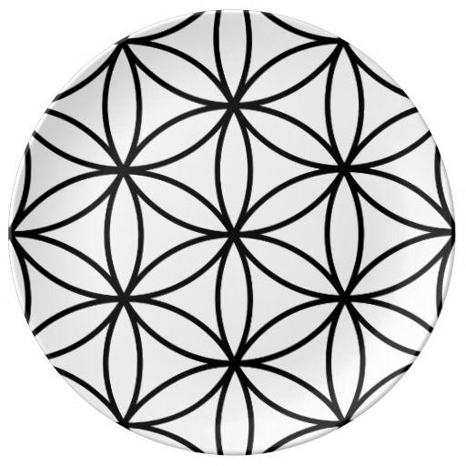 Bloem van de Grote Zwarte Ptn van het Leven op Wit Porseleinen Bord | Zazzle