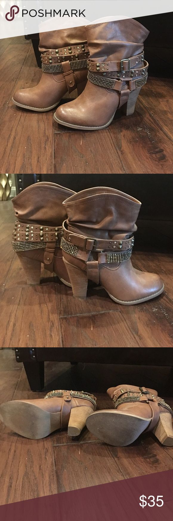 Camel rhinestone Not Rated boots Rhinestone bling boots by Not Rated. Worn once for a photoshoot, no marks or blemishes, practically new! Not Rated Shoes Ankle Boots & Booties