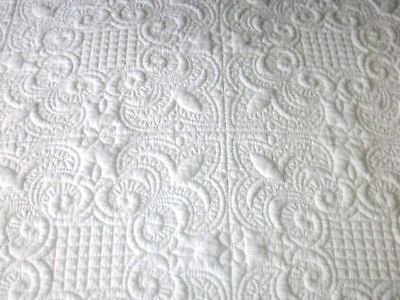 100% Cotton Trapunto Look White Full Queen Size Quilt Set ~Great Wedding Gift~