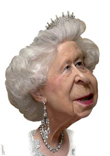 Cartoon: Queen Elisabeth II (medium) by Medi Belortaja tagged kingdom,united,anniversary,60th,england,ii,elisabeth,queen